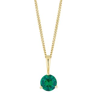 Yellow Gold Plated Created Emerald Pendant - Product number 4604415