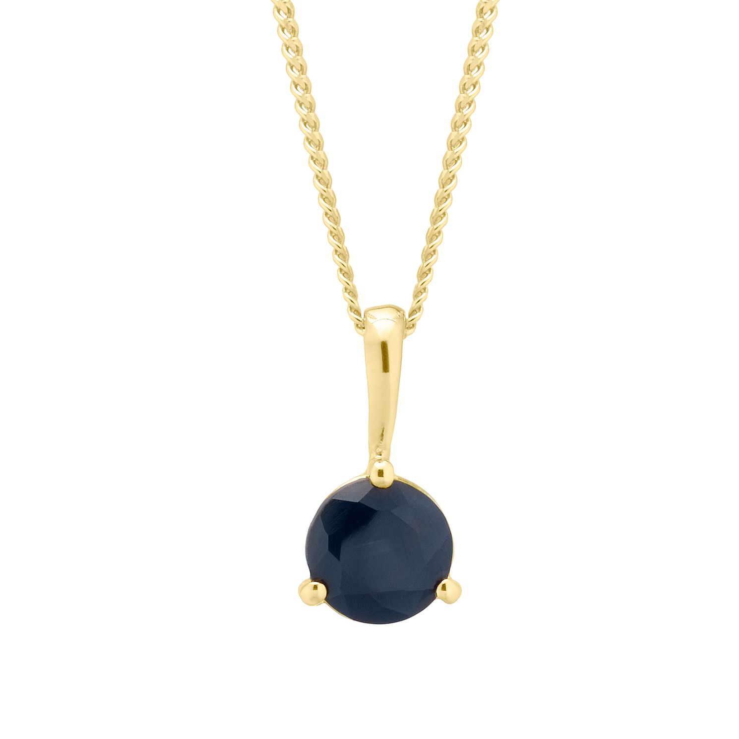 Yellow Gold Plated Black Sapphire Pendant - Product number 4604431