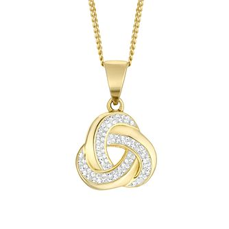 Evoke Yellow Gold Plated Crystal Knot Pendant - Product number 4604466
