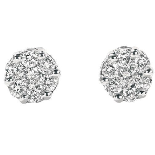 9ct white gold 15 point diamond cluster earrings - Product number 4604520