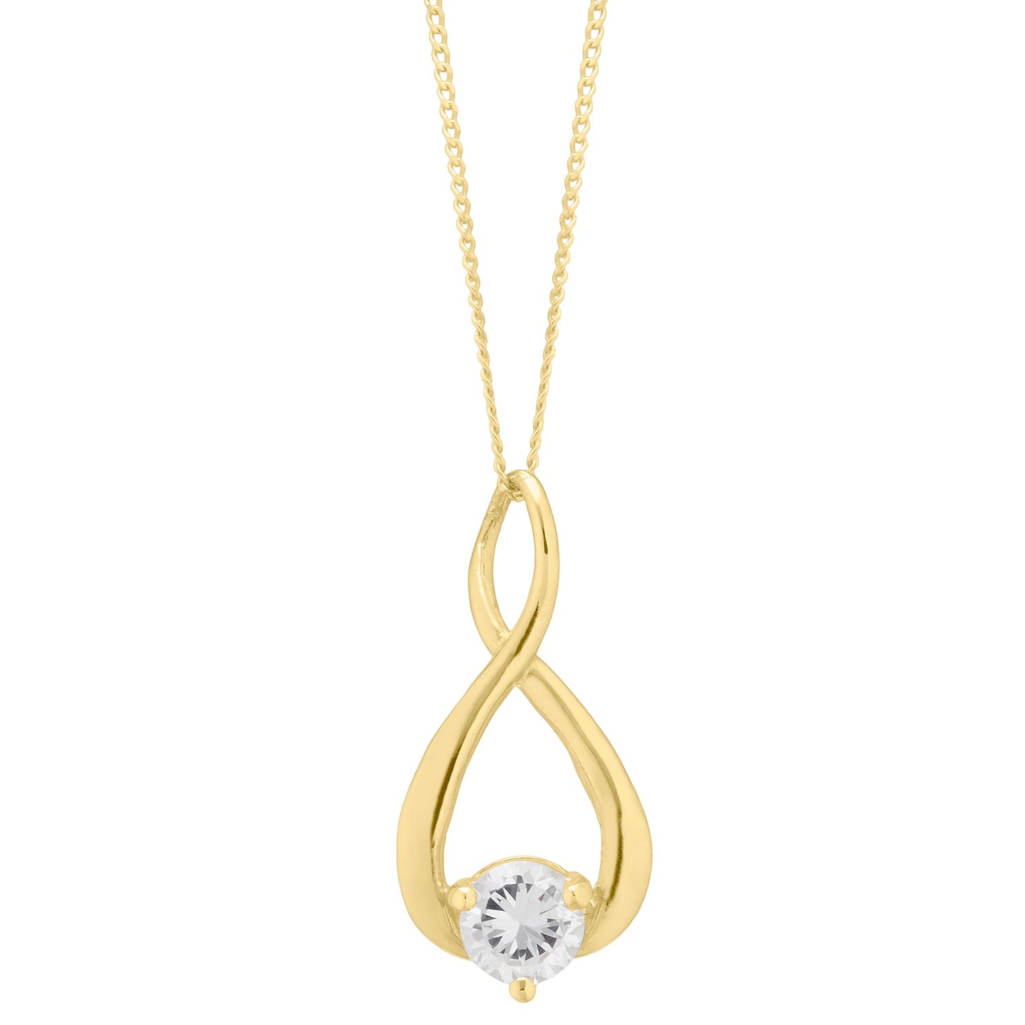 9ct Yellow Gold Cubic Zirconia Figure of 8 Pendant - Product number 4604547