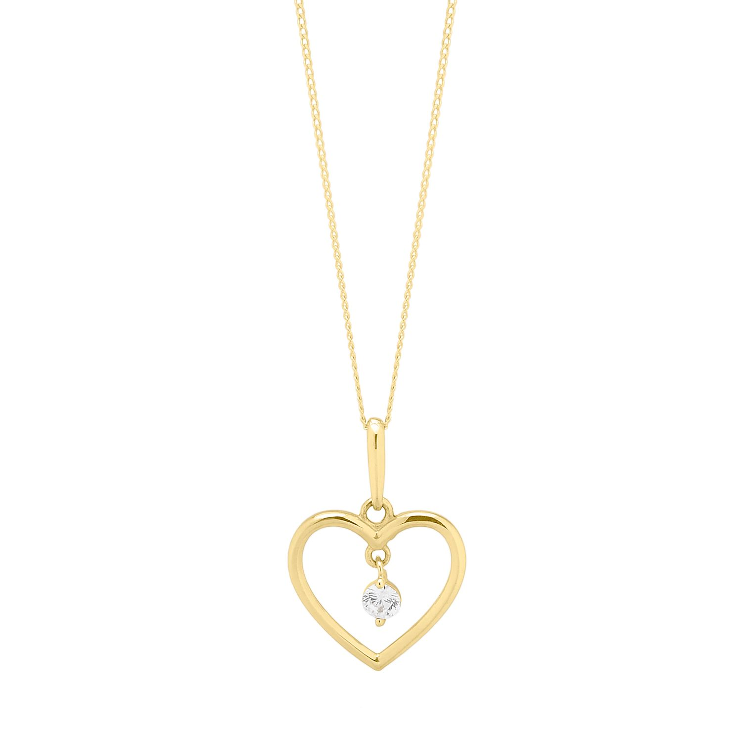9ct Yellow Gold Crystal Open Heart Pendant - Product number 4604784