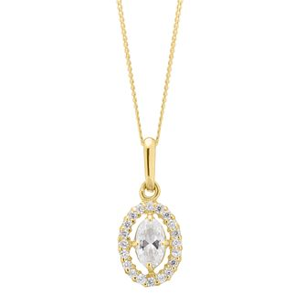 9ct Yellow Gold Cubic Zirconia Oval Halo Pendant - Product number 4604792