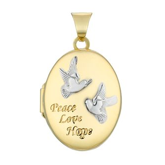 9ct Two Tone Gold Peace Love & Hope Oval Locket - Product number 4604911