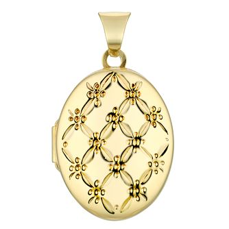 9ct Yellow Gold Oval Patterned Locket - Product number 4604938