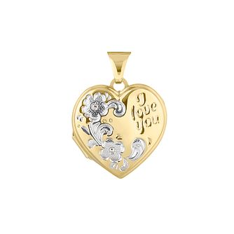 9ct Two Tone Gold I Love You Locket - Product number 4604954
