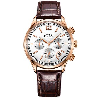 Rotary Men's White Multi Dial Brown Leather Strap Watch - Product number 4606957