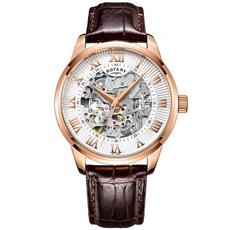 be271684fbb Rotary Men s Silver Dial Brown Leather Strap Watch - Product number 4607007