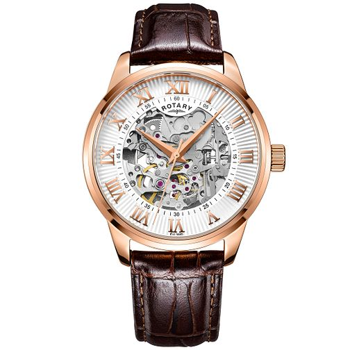 Rotary Men's Silver Dial Brown Leather Strap Watch - Product number 4607007