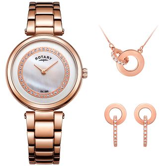 Rotary Ladies' Bracelet Watch, Necklace & Drop Earrings - Product number 4607058