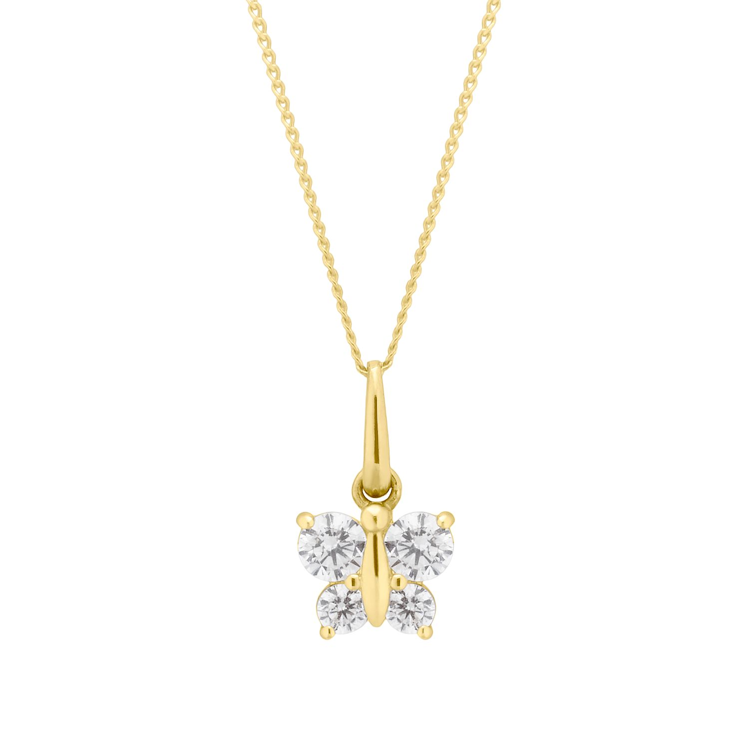 Children's 9ct Yellow Gold Cubic Zirconia Butterfly Pendant - Product number 4607120