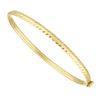Children's 9ct Yellow Gold Diamond Cut Edge Baby Bangle - Product number 4607392