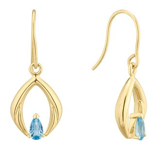 9ct Yellow Gold Blue Topaz Peardrop Drop Earrings - Product number 4607465