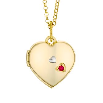 Yellow Gold Plated Created Ruby Heart Locket - Product number 4607511