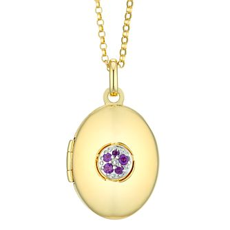 Yellow Gold Plated Amethyst Flower Oval Locket - Product number 4607856