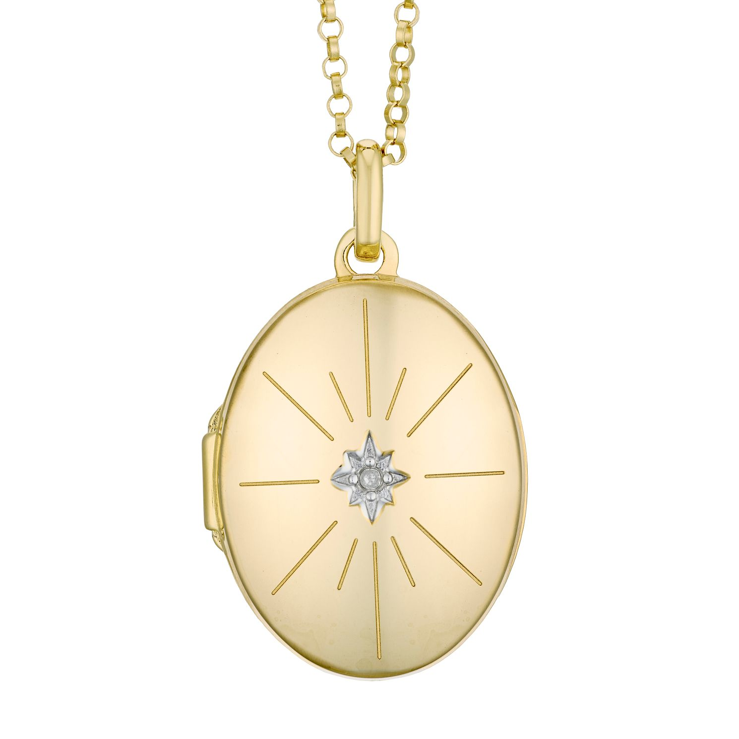 Yellow Gold Plated Diamond Star Oval Locket - Product number 4608038