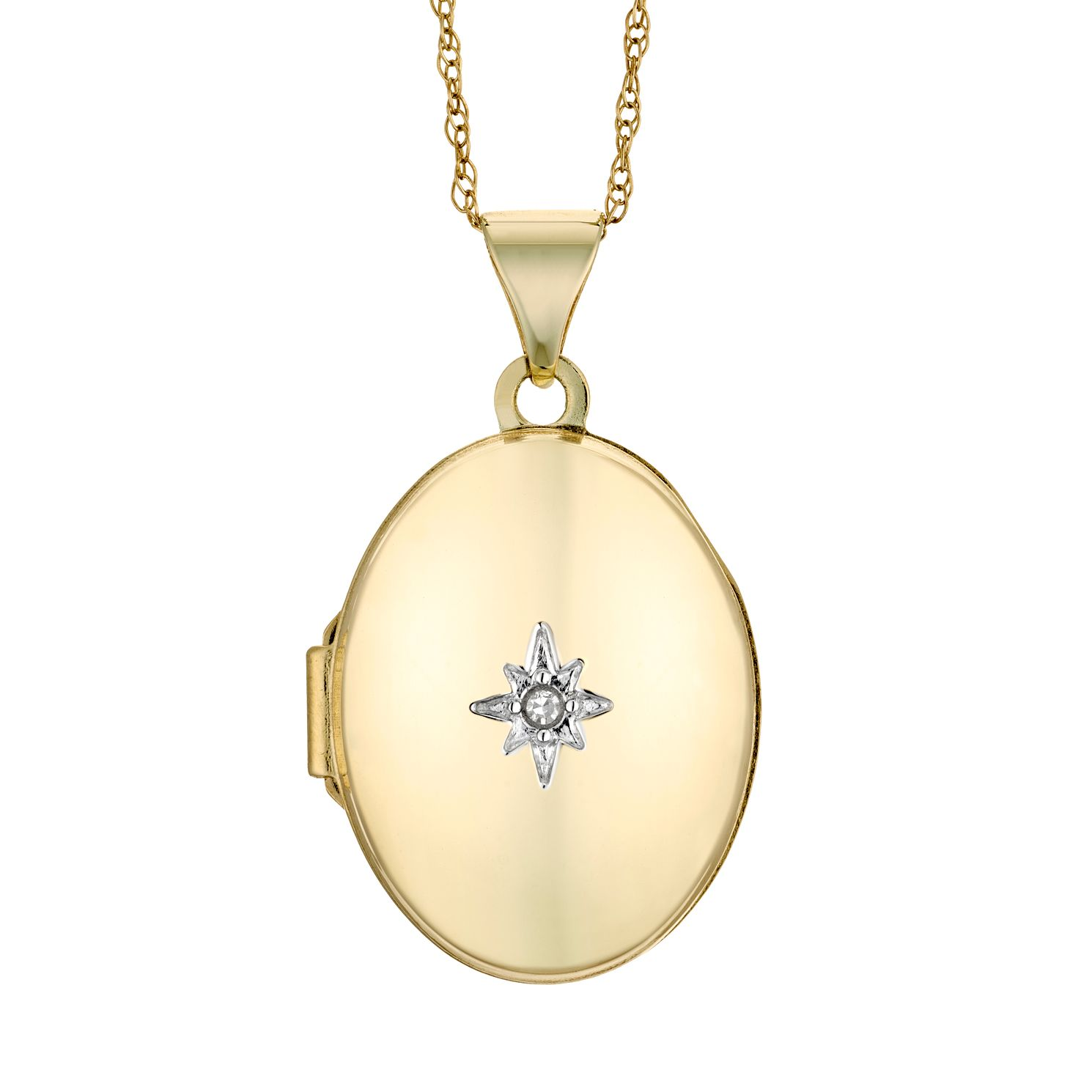 9ct Yellow Gold Diamond Oval Locket - Product number 4608046