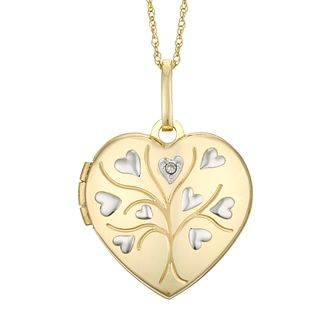 9ct Yellow Gold Diamond Tree Of Life Heart Locket - Product number 4608054