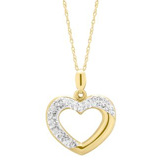9ct Yellow Gold Crystal Open Heart Pendant - Product number 4608127