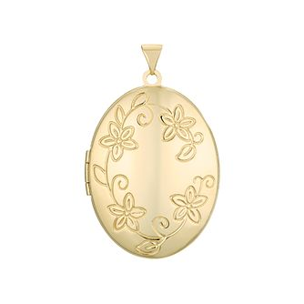 9ct Yellow Gold Large Floral Oval Locket - Product number 4608798