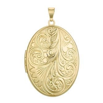 9ct Yellow Gold Large Floral Oval Locket - Product number 4608852