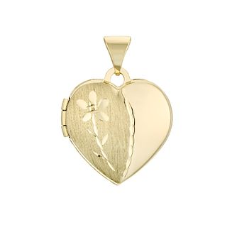 9ct Yellow Gold Flower Heart Locket - Product number 4609085