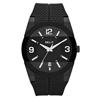 Relic Men's Black Dial Black Rubber Strap Watch - Product number 4609204