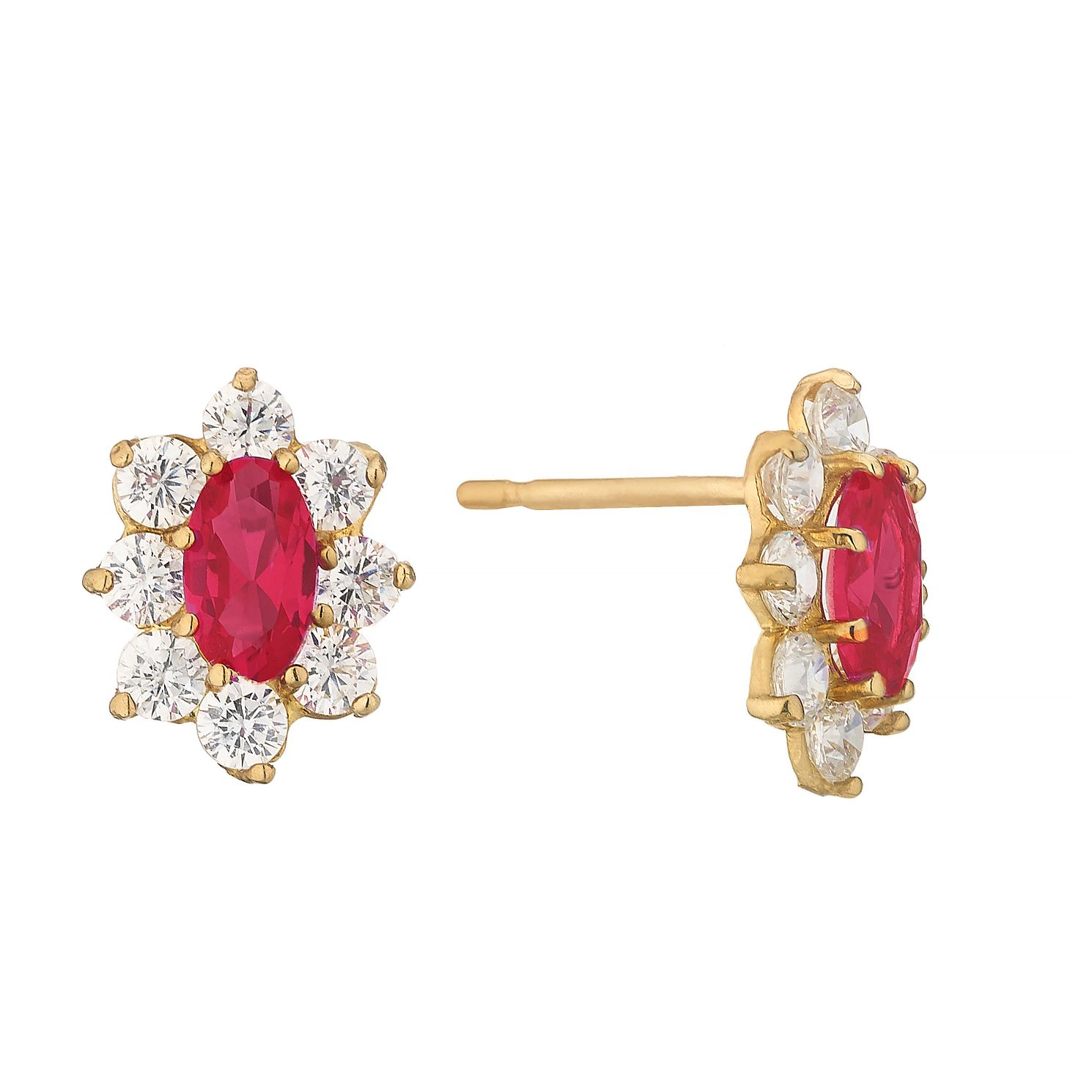 9ct Yellow Gold Red Cubic Zirconia Flower Stud Earrings - Product number 4610571