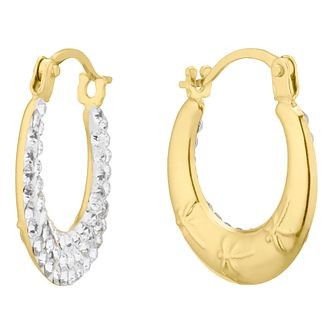 9ct Yellow Gold Crystal 9mm Creole Hoop Earrings - Product number 4610989