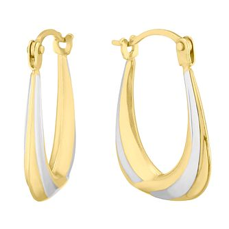 9ct Two Colour Gold Handbag 8mm Creole Hoop Earrings - Product number 4611012