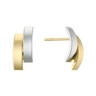 9ct Two Colour Gold Double Rainbow Stud Earrings - Product number 4611020