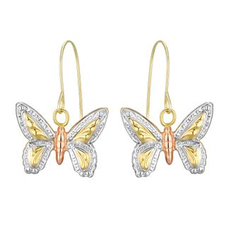 9ct Three Colour Gold Butterfly Drop Earrings - Product number 4611055