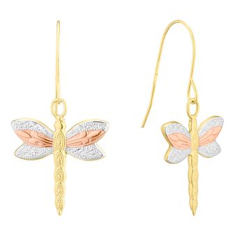 9ct Three Colour Gold Dragonfly Drop Earrings - Product number 4611098