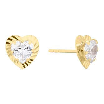 9ct Gold Cubic Zirconia Diamond Cut Heart Stud Earrings - Product number 4611195