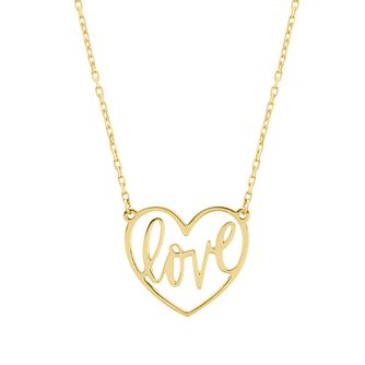 9ct Yellow Gold Love Script Heart Necklace - Product number 4611306