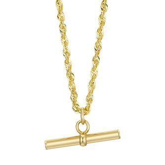 9ct Yellow Gold Rope Chain T-Bar Necklace - Product number 4611497