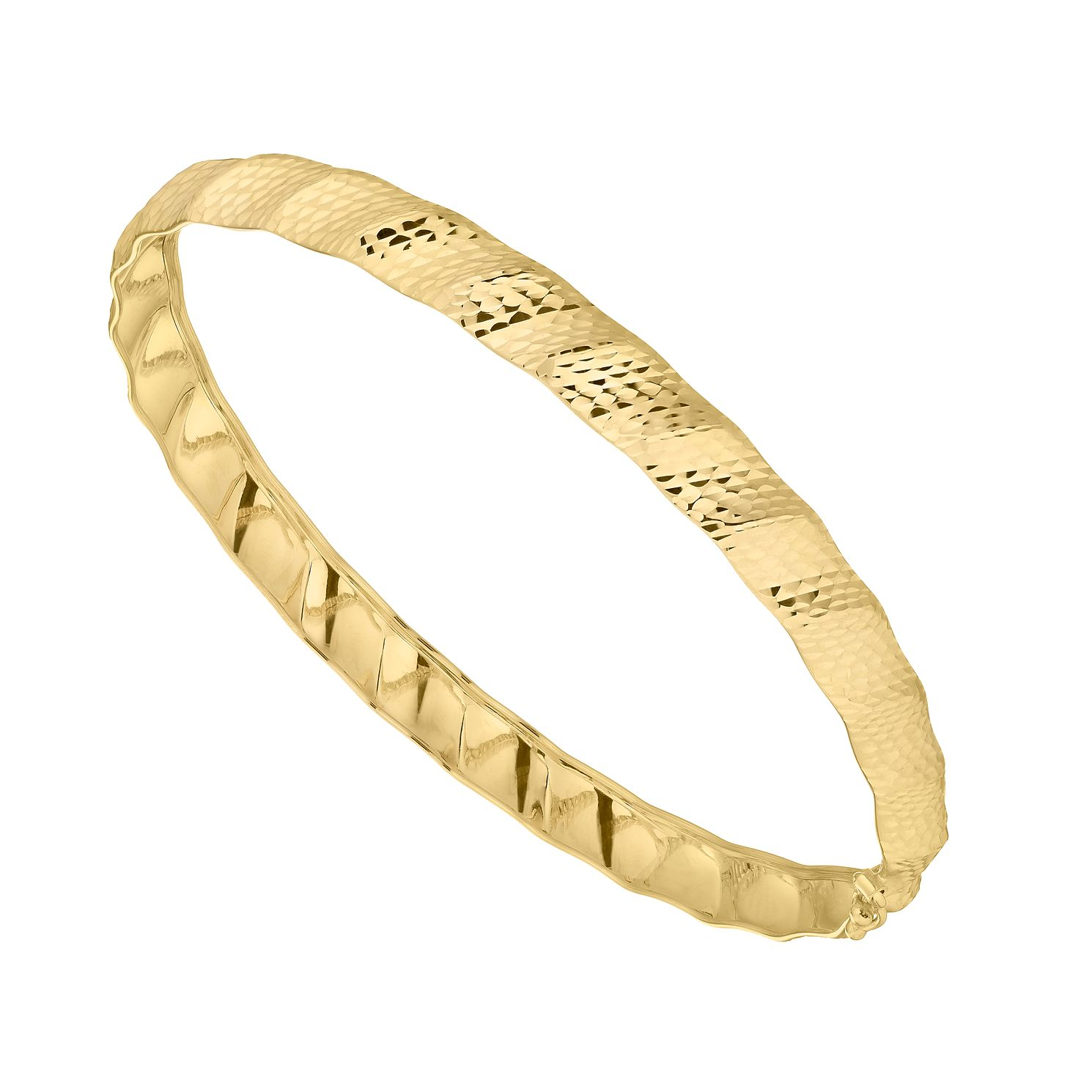 9ct Yellow Gold Diamond Cut Hinged Bangle - Product number 4611543