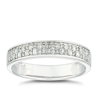 9ct White Gold 1/5ct Diamond Baguette Wedding Ring - Product number 4611667