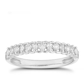9ct White Gold 0.20ct Diamond Mix-Cut Cut Lattice Ring - Product number 4612663