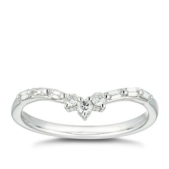 9ct White Gold 1/5ct Diamond Mix Cut Skinny Wishbone Ring - Product number 4613198