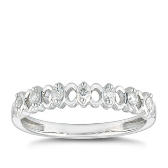9ct White Gold 0.15ct Diamond Lattice Station Wedding Ring - Product number 4613791