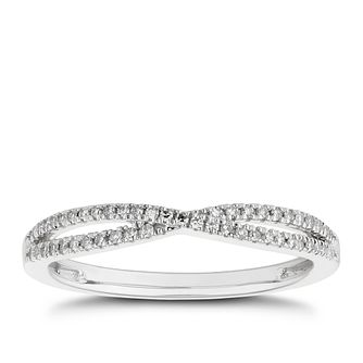 9ct White Gold 0.12ct Diamond Crossover Wedding Ring - Product number 4614844