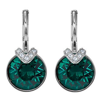 Swarovski Green Bella Rhodium Plated Drop Earrings - Product number 4615700