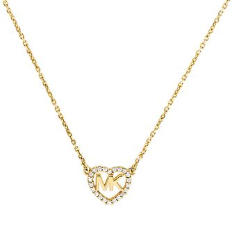Michael Kors Love Yellow Gold Tone Cubic Zirconia Necklace - Product number 4617460