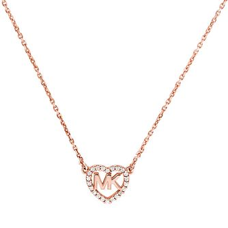 Michael Kors Love Rose Gold Tone Cubic Zirconia Necklace - Product number 4617487