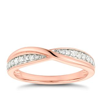 9ct Rose Gold 0.15ct Diamond Crossover Wedding Ring - Product number 4617509