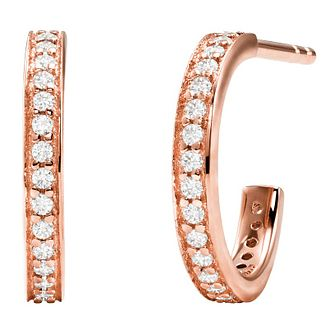 Michael Kors Mercer Link RoseGold Plate CZ 1/2 Hoop Earrings - Product number 4618815