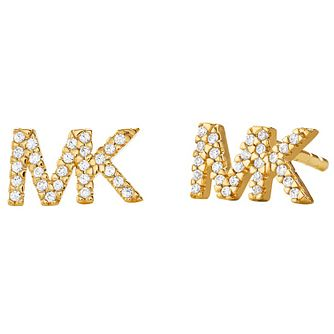 Michael Kors Logo Yellow Gold Tone Cubic Zirconia Earrings - Product number 4618890