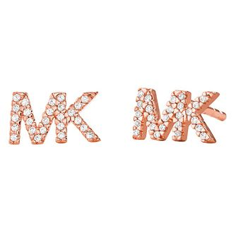 Michael Kors Logo Rose Gold Tone Cubic Zirconia Earrings - Product number 4618904