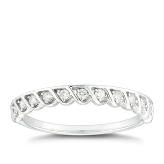 9ct White Gold 0.15ct Diamond Wavy Lattice Wedding Ring - Product number 4620569